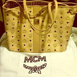 MCM Tan Medium Reversible Tote